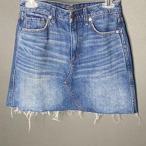 Abrecombie & Fitch Hi Rise A Line Raw Hem Skirt 26
